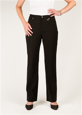 Simon Chang 5 Pocket Straight Leg Microtwill Pants Style # 3-5302X - Colour: Black - [PLUS SIZE]size 14 plus in stock